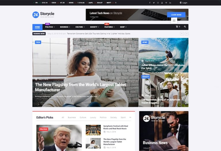 24.Storycle News Portal Elementor WordPress Theme