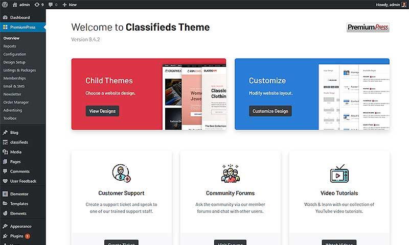 classifieds theme setup