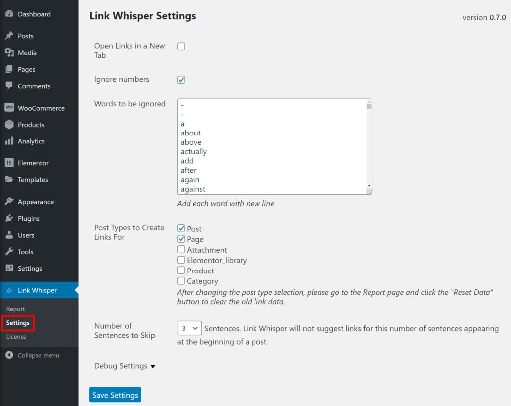 Link Whisper settings