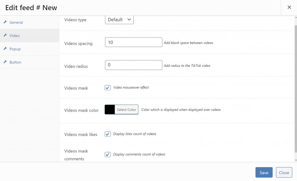Configure videos