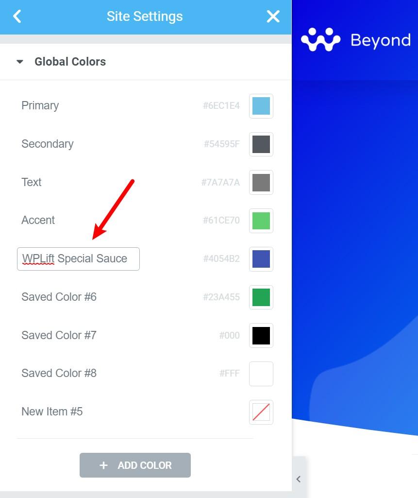 Elementor global colors