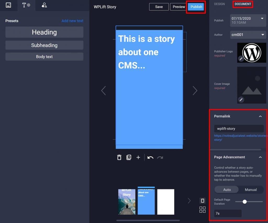 Publish Google Web Stories WordPress