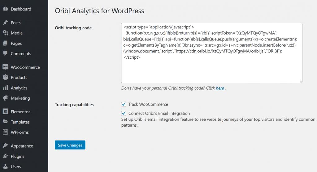 Oribi WordPress plugin