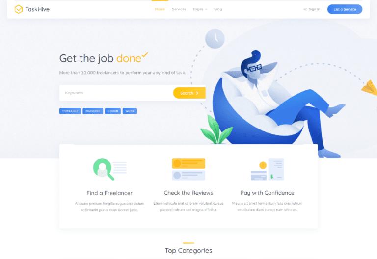 TaskHive – Freelance Services Marketplace WordPress Theme