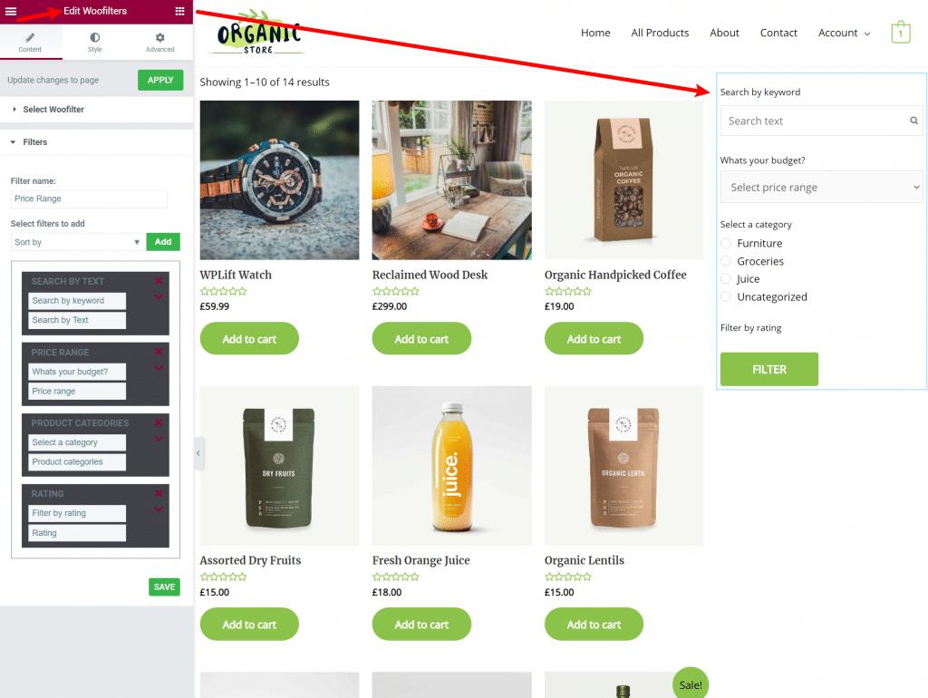 WooCommerce Product Filter Elementor widget