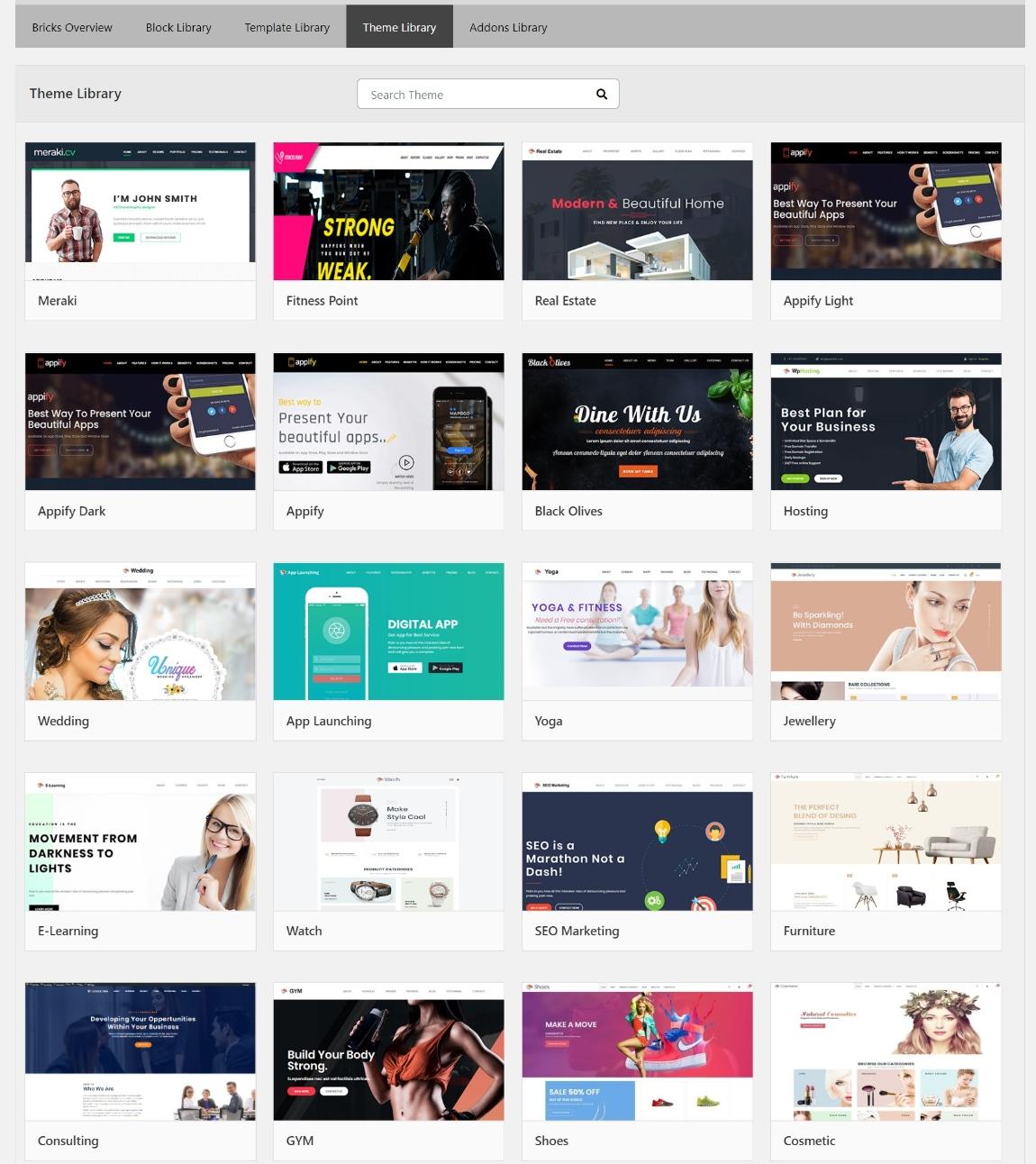 WPBricks theme demo sites