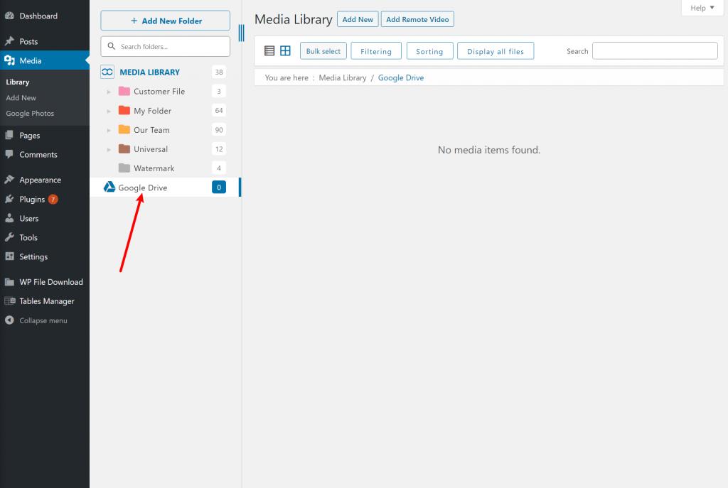 Google Drive folders in Media Library
