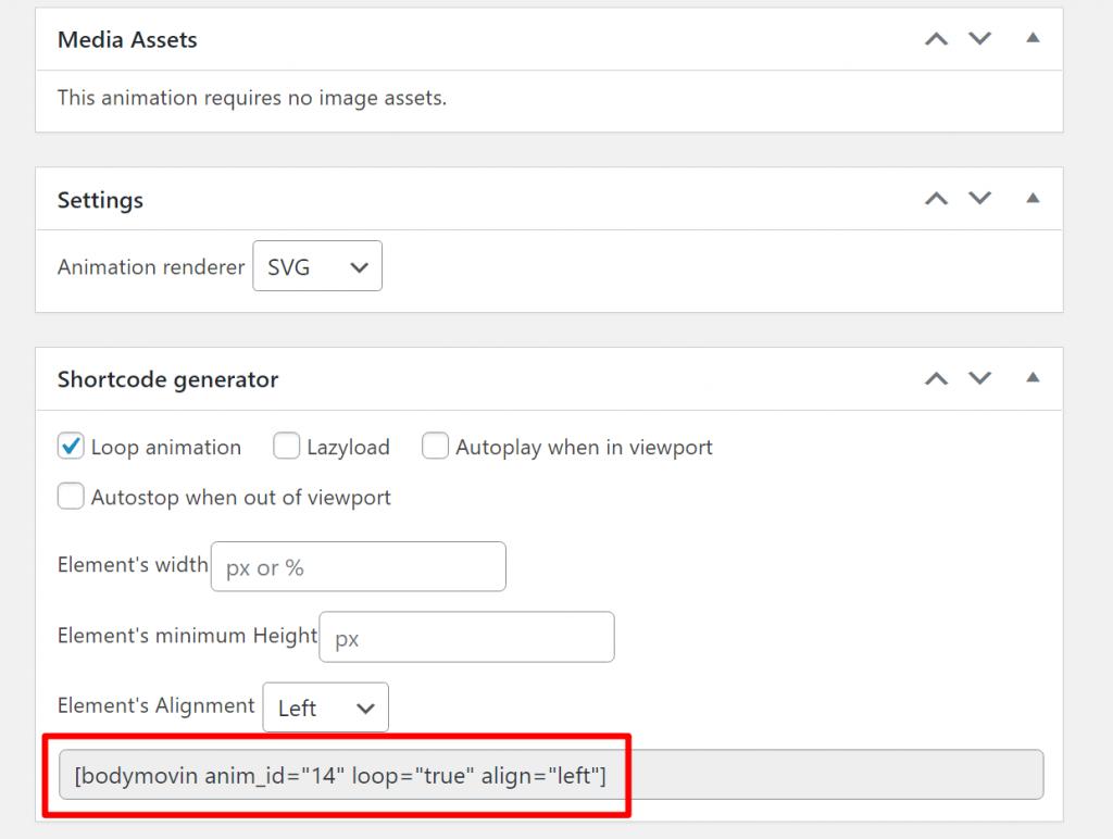 Generate shortcode