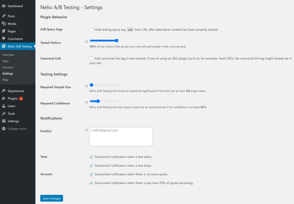 Nelio A/B Testing settings