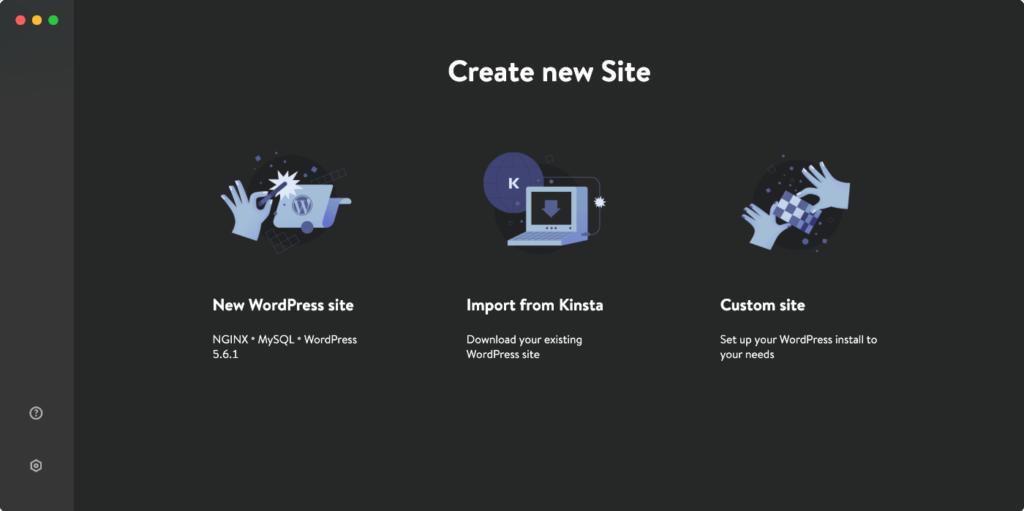 DevKinsta create site