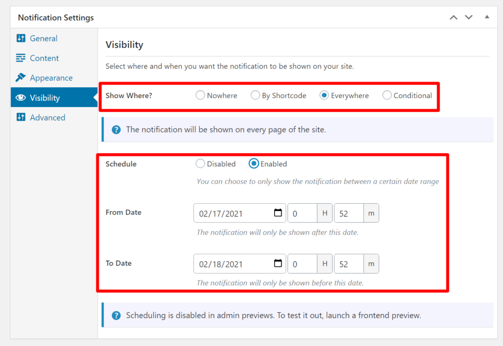 Visiblity settings and scheduling