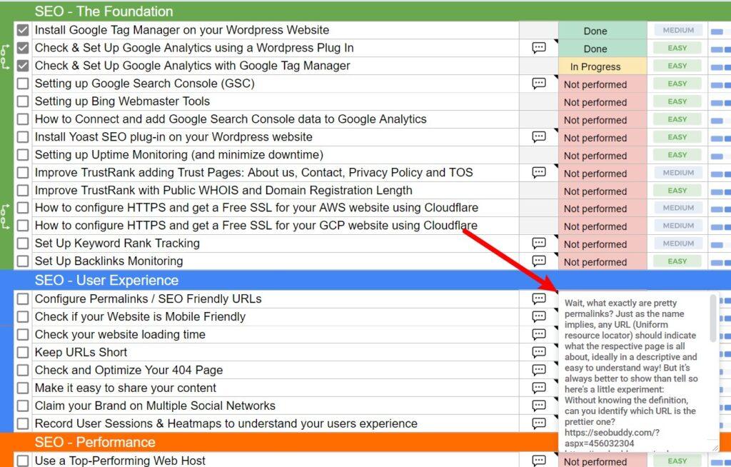 The SEO Checklist notes