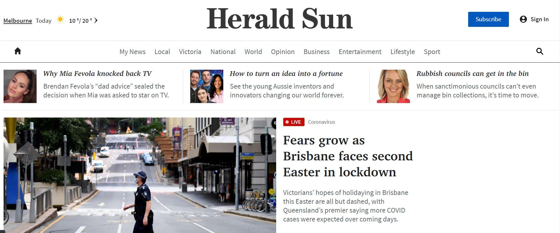 Herald Sun website