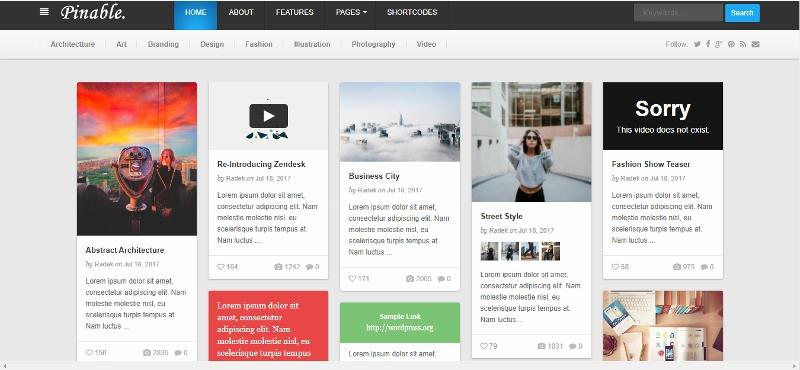 Pinable - Pinterest like WordPress Theme