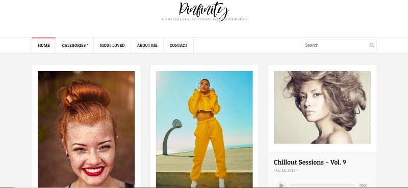 Pinfinity - Pinterest style WordPress theme