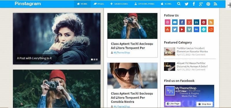 Pinstagram - Pinterest type theme for WordPress