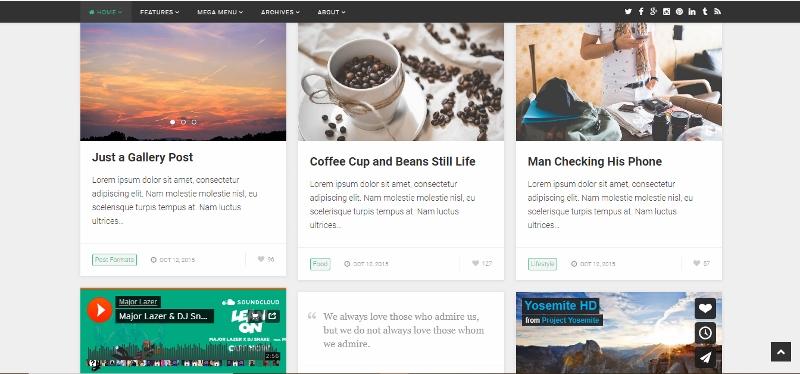 Poastboard - grid style WordPress theme