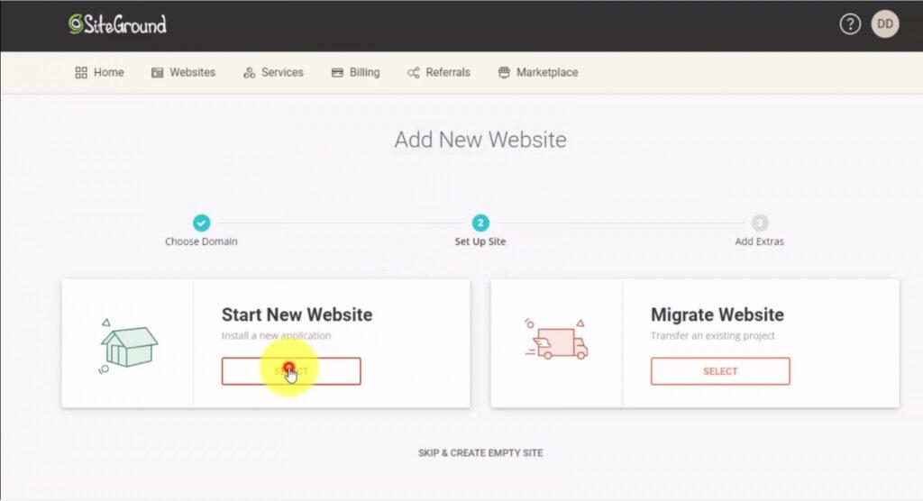 Start New Website - SiteGround