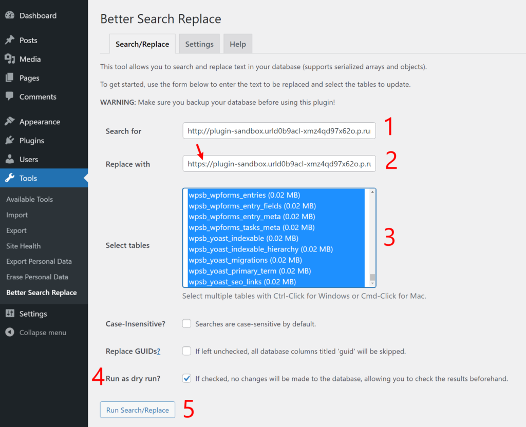 How to run a search/replace