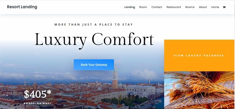 Divi hotel website demo
