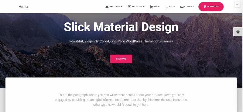 Hestia Pro - clean Material Design WordPress theme