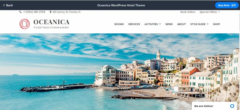 Oceanica WordPress theme for hotels