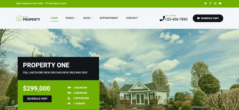 PropertyOne real estate WordPress theme