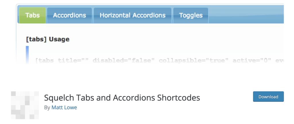 Squelch Tabs WordPress Tab Plugin