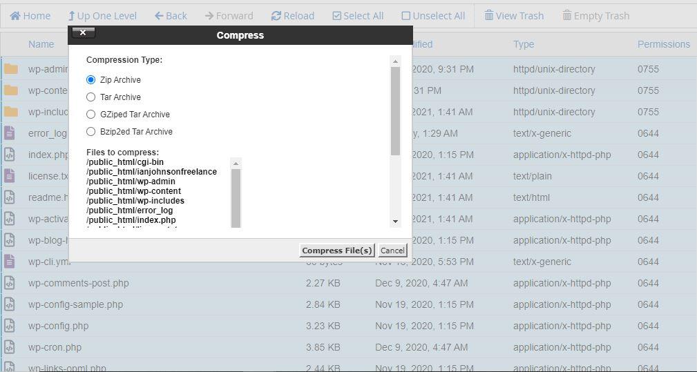 backup wordpress site via cPanel