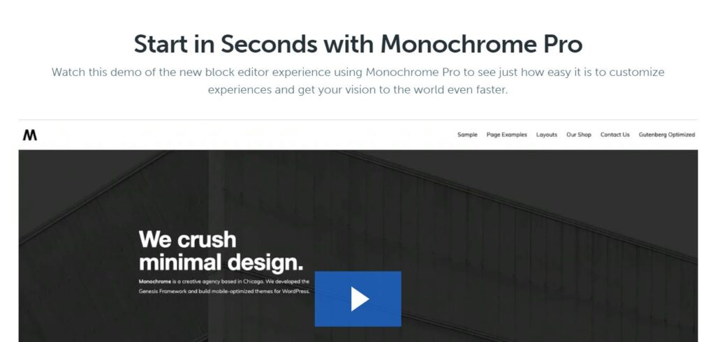 Monochrome Gutenberg Theme