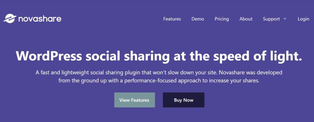 NovaShare WordPress social media share plugin