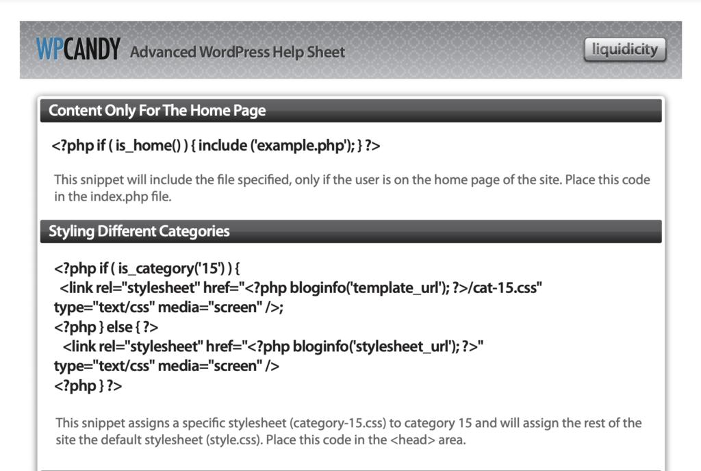 Advanced WordPress Cheat Sheet by Go Squared & WP Candy (PDF)