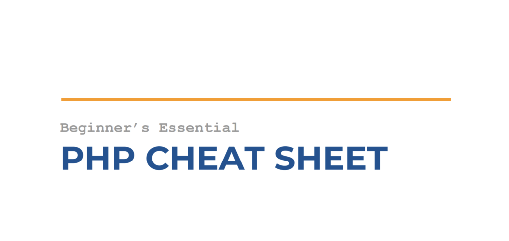 Beginner's Essential PHP Cheat Sheet by Website Setup (PDF)