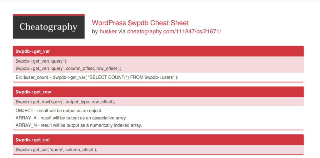 WordPress $WPDB Cheat Sheet by Cheatography (PDF)