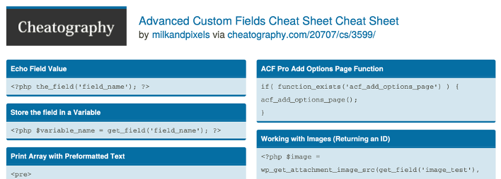 Advanced Custom Fields by Cheatography (PDF)