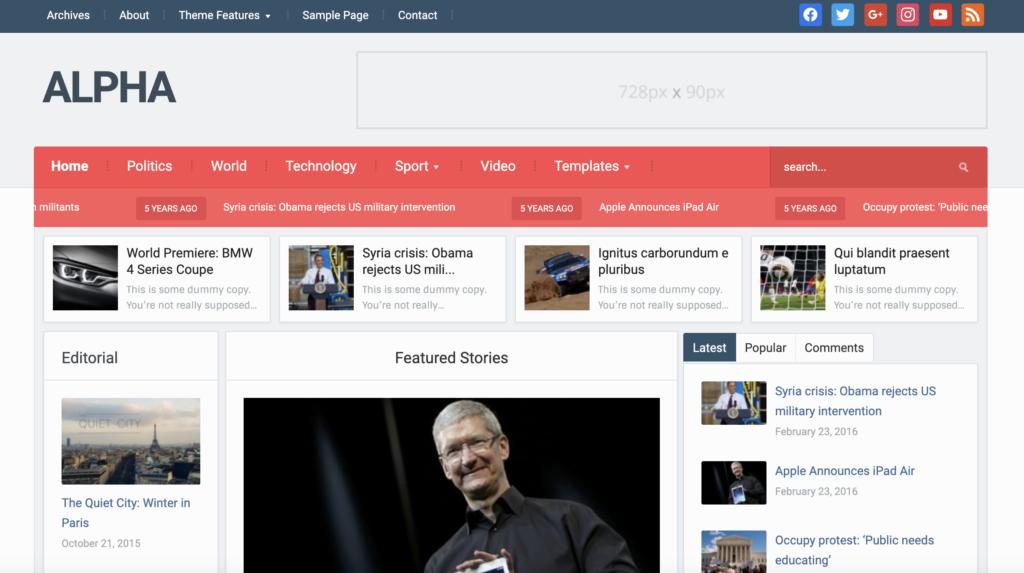 Alpha WordPress theme for affiliate marketing