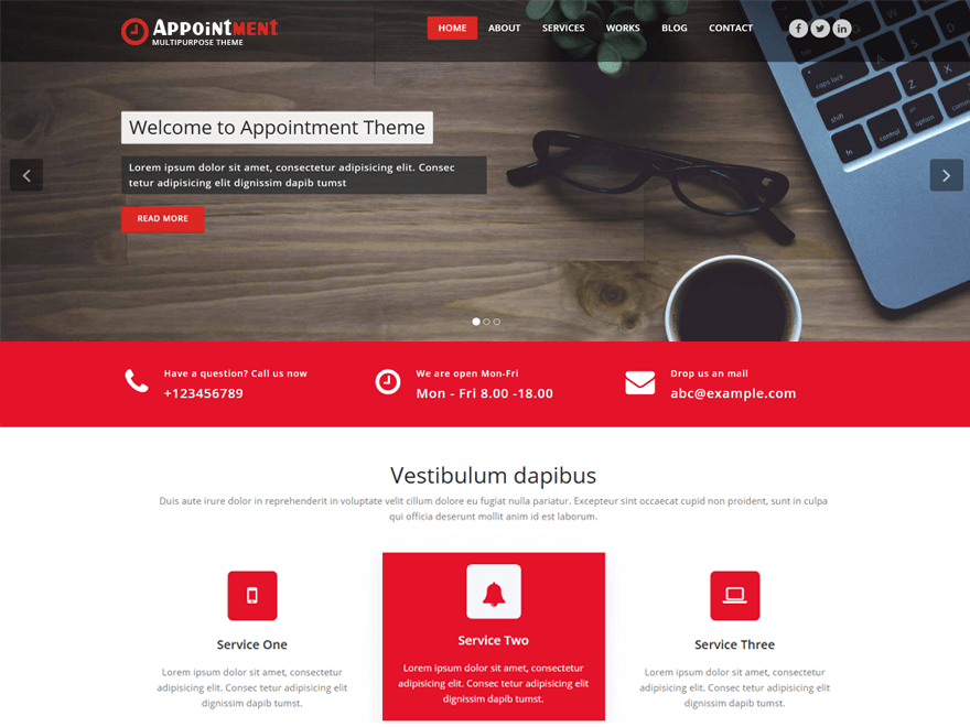 Appointment red WordPess theme