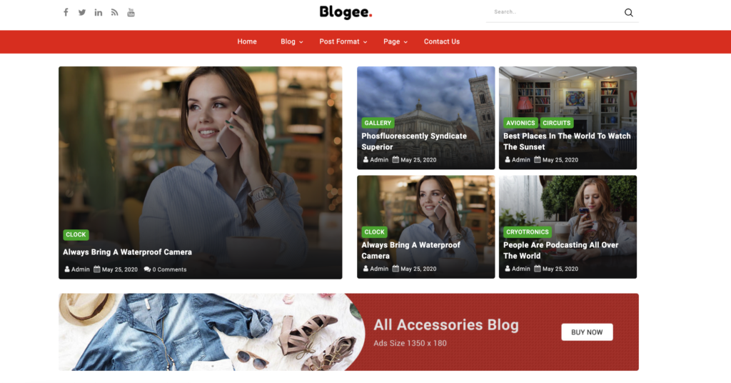 Blogee red wordpress themes
