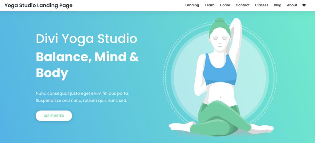 Divi yoga WordPress theme