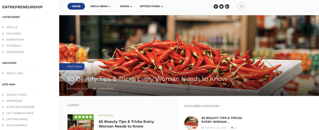 Entrepreneurship WordPress theme for affiliate marketing