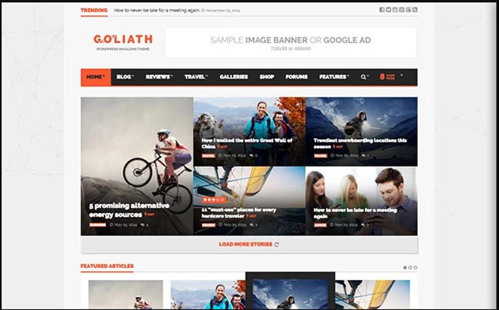Goliath WordPress theme for affiliate marketing