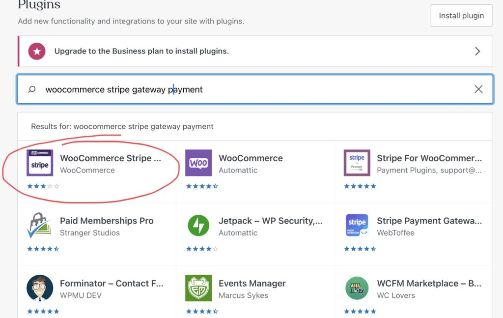 WooCommerce Stripe Tutorial - Search for plugin
