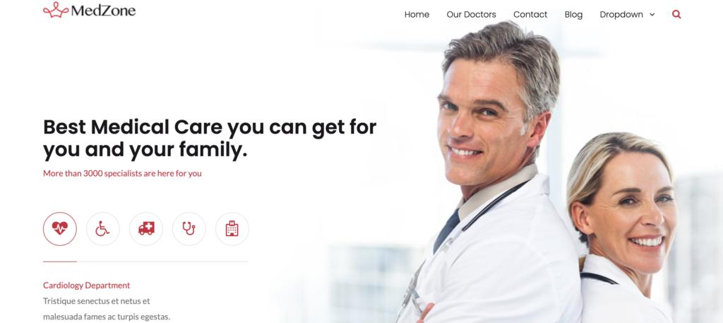 MedZone dentist WordPress themes