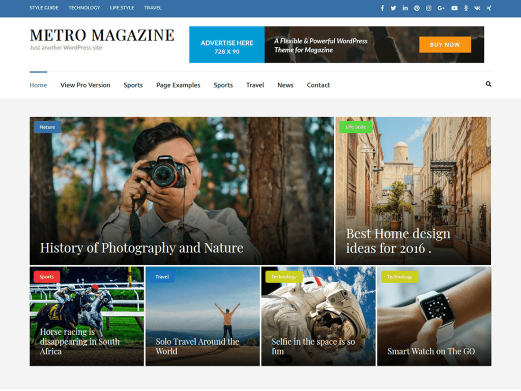 Metro Magazine best WordPress theme for affiliate marketing