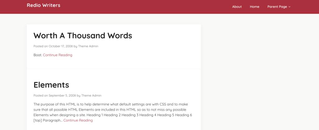 Redio writers red wordpress theme
