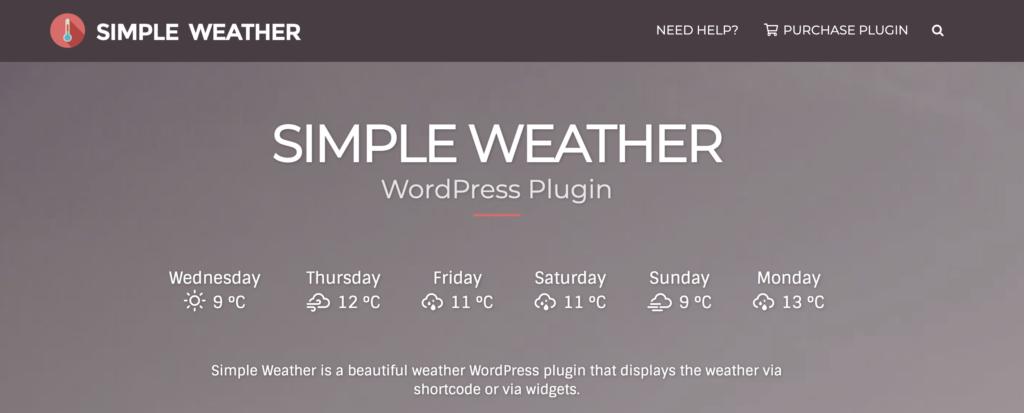 Simple Weather WordPress plugin