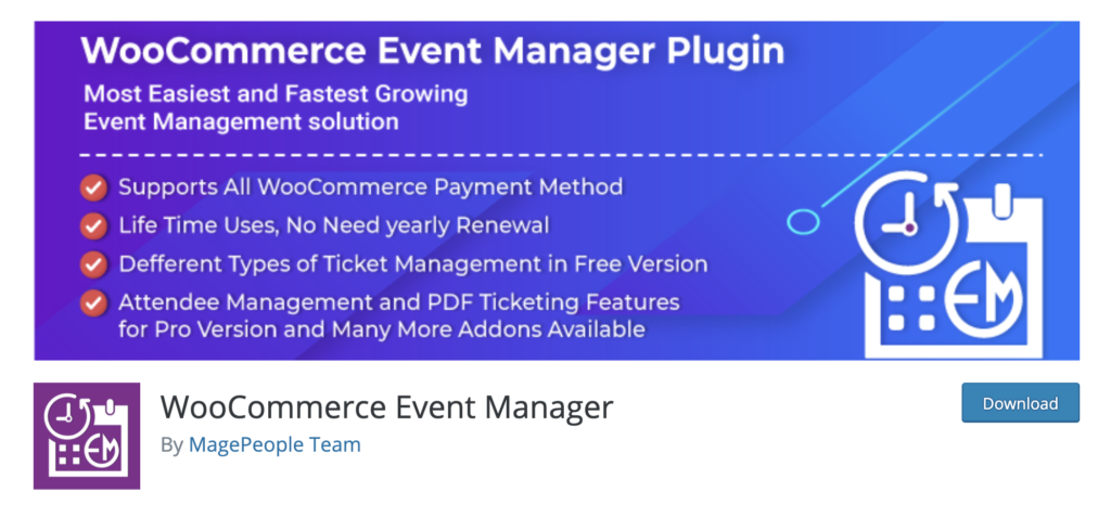 WooCommerce Event Manager WordPress event calendar plugin
