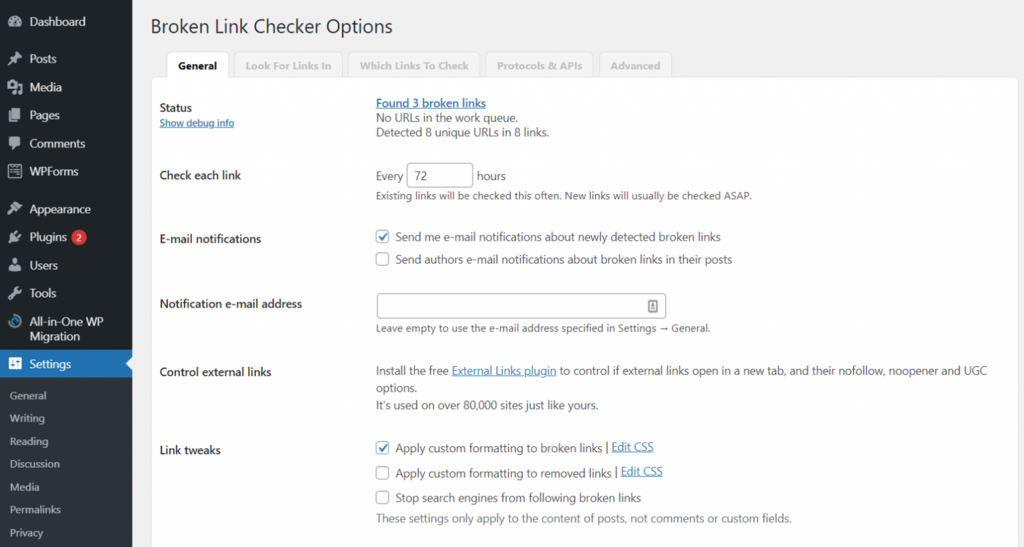 broken link checker options