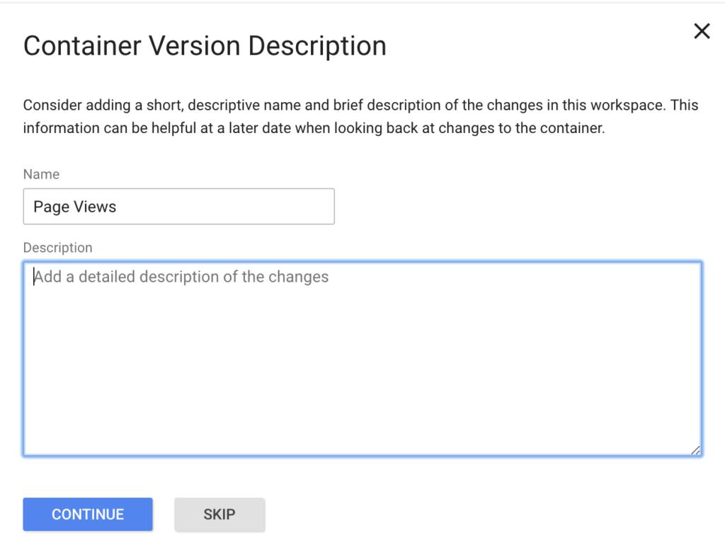 container version description