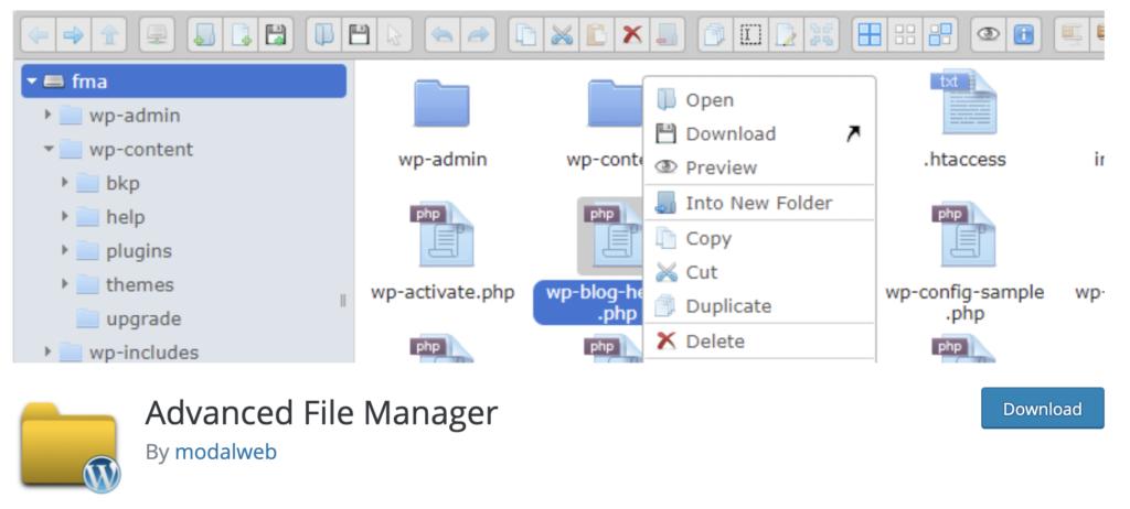 Advance File Manager WordPress media library plugin